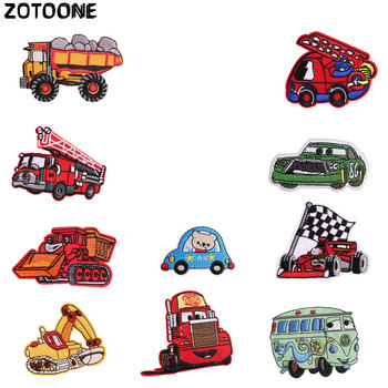 ZOTOONE Cartoon car Patches Engineering vehicle Stickers Iron on Clothes Heat Transfer Applique Embroidered Cloth Fabric G
