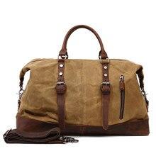 Sacs de voyage en toile cirée pour hommes, sac à main de voyage haut de gamme de qualité, sac de voyage de grande capacité Style Vintage en cuir de cheval fou