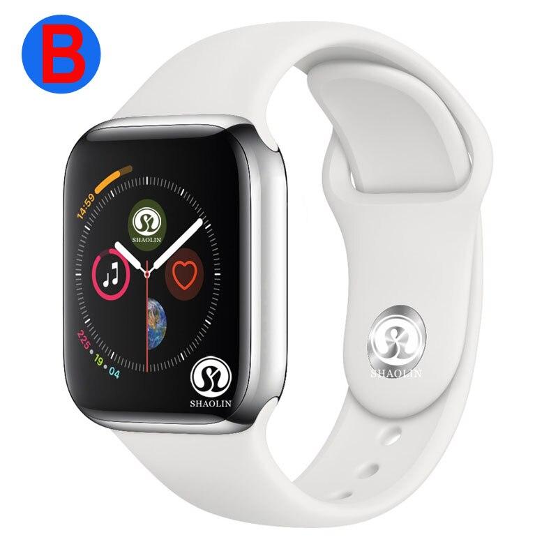 B montre intelligente série 4 hommes femmes Bluetooth SmartWatch pour Apple iOS iPhone Xiaomi Android téléphone intelligent (bouton rouge)