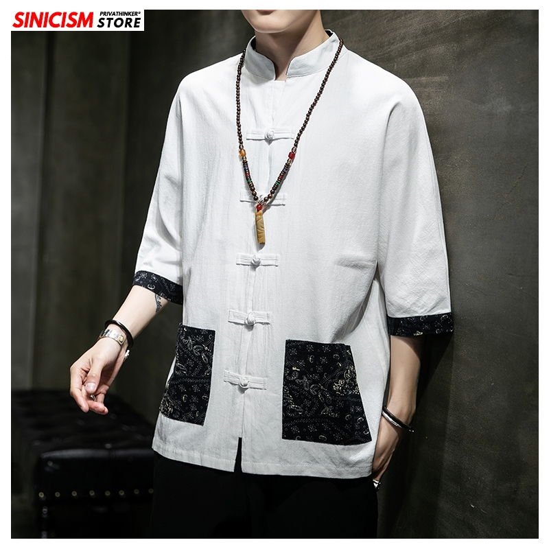 Sinicism Store Black Patchwork Chinese Style Shirt Mens Fashion 2020 Summer Print Mens Shirts Male Whiter Buckle Shirt Clothing