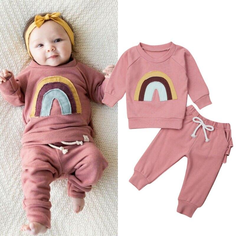 2 pçs bebê recém-nascido infantil roupas da menina conjunto arco-íris manga longa hoodie topos plissado leggings calças outono inverno outfits 0-3y