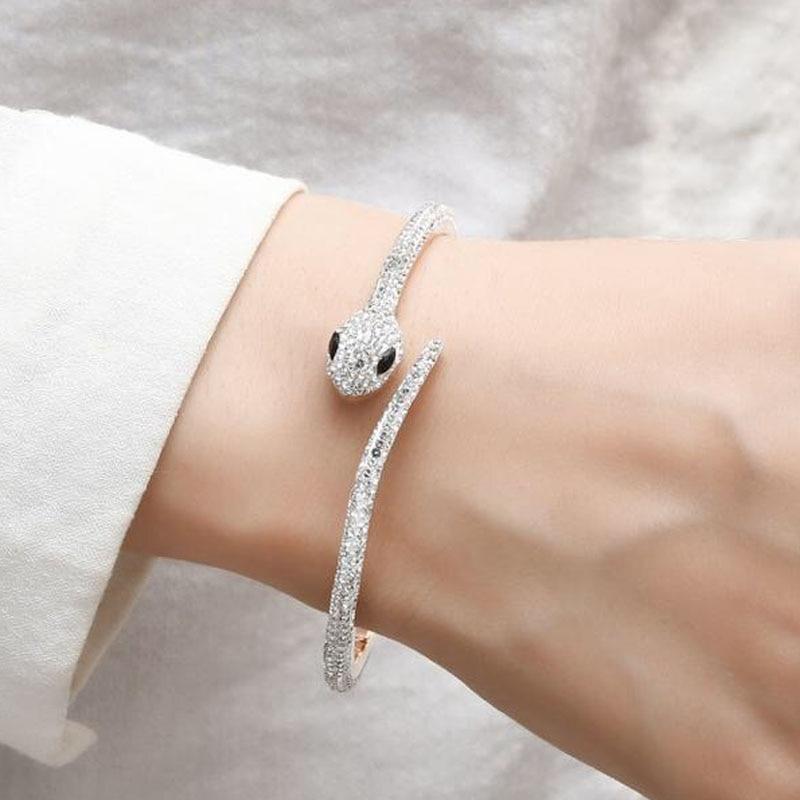 316 Stainless Steel Rose Gold Czech women's bracelets Crystal Snake Bangle  Cuff Bracelet Fashion charm Woman's accessories|Bangles| - AliExpress