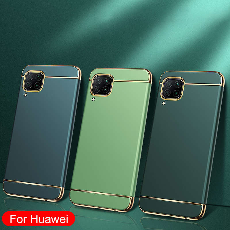 3 IN 1 Electroplating Luxury Plating Protective Phone Case For Huawei P30 P40 Lite P20 Pro Honor 8X 9X 10 9 8 Lite 20 V20 Cases