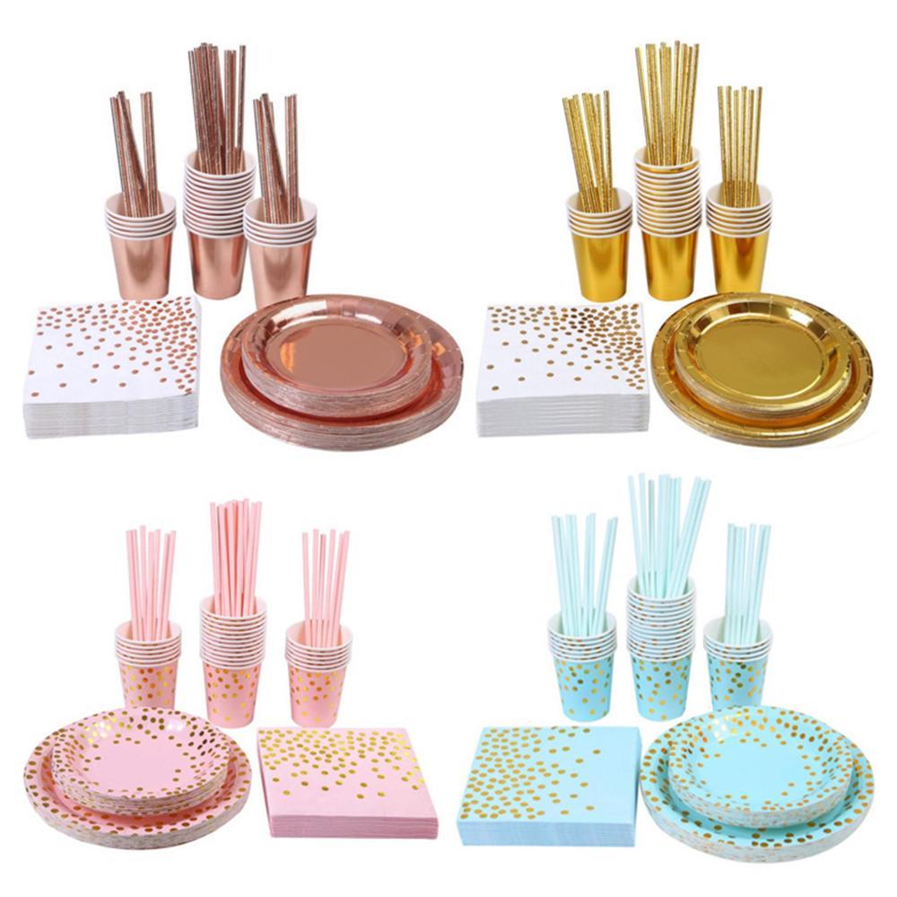 32 шт. Высококачественная одноразовая посуда с горячей штамповкой, набор тарелок/салфеток/стаканчиков для взрослых с днем рождения, вечеринки, украшения для детей, свадьбы, дня рождения