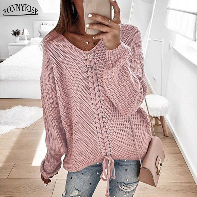 RONNYKISE Sexy V-neck Lace Up Knitted Sweaters Long Sleeve Solid Stitching Loose Sweater Autumn Winter Casual Sweaters