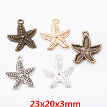 50pcs 23*20mm Vintage bronze antique silver nautical gold starfish charms pendant for bracelet earring necklace diy jewelry(China)