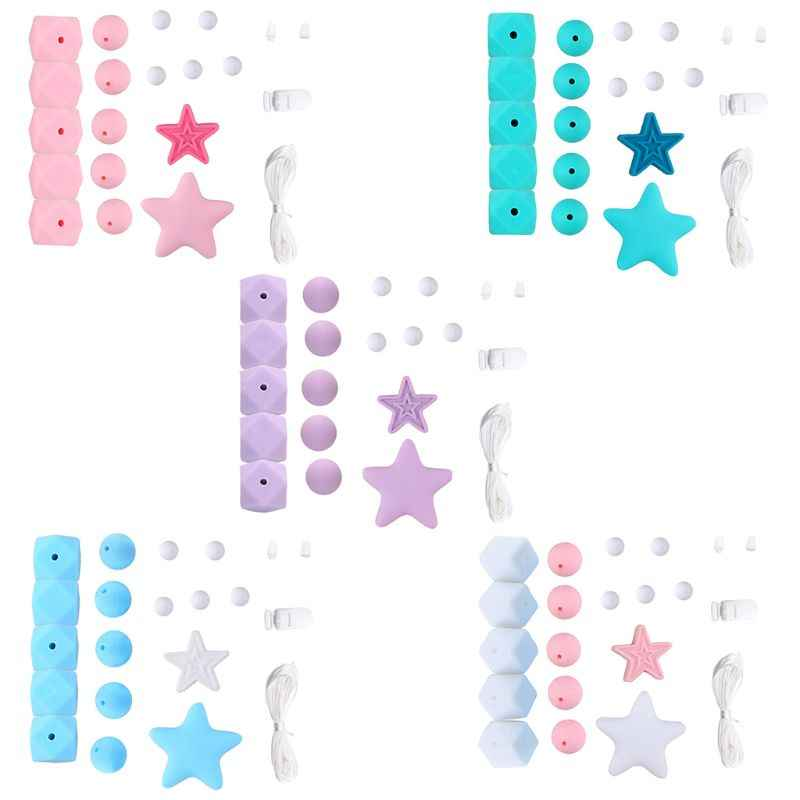Silicone Beads Set DIY Baby Teething Molar Toy Infants Necklace Bracelet Teether Pacifier Chain Making Accessories