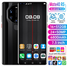 Yeni küresel sürüm 16GB 512GB 7.3 inç Mate40 RS Smartphone cep telefonu 24 + 50MP 4G 5G ağ 6800mAh GPS WiFi cep telefonu