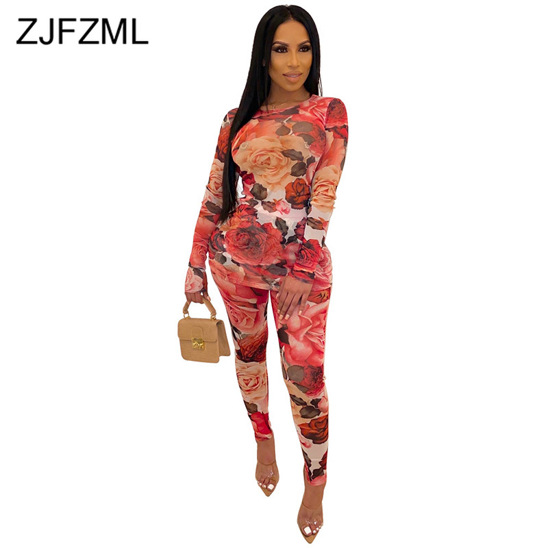 Floral Print Mesh Two Piece Set Track Suits For Women O Neck Full Sleeve Transparent T-Shirt And Elastic Pants Sexy 2 Pieces Set