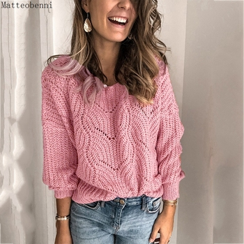 Sexy Hollow Out Sweater Women Pink Sweater Loose Long Sleeve Sweaters Pullover Elegant Sweaters Autumn Lady Outerwear Streetwear 2020 elegant knitted sweater dress women korean causal autumn spring hollow out long sleeve loose pullover long dress black