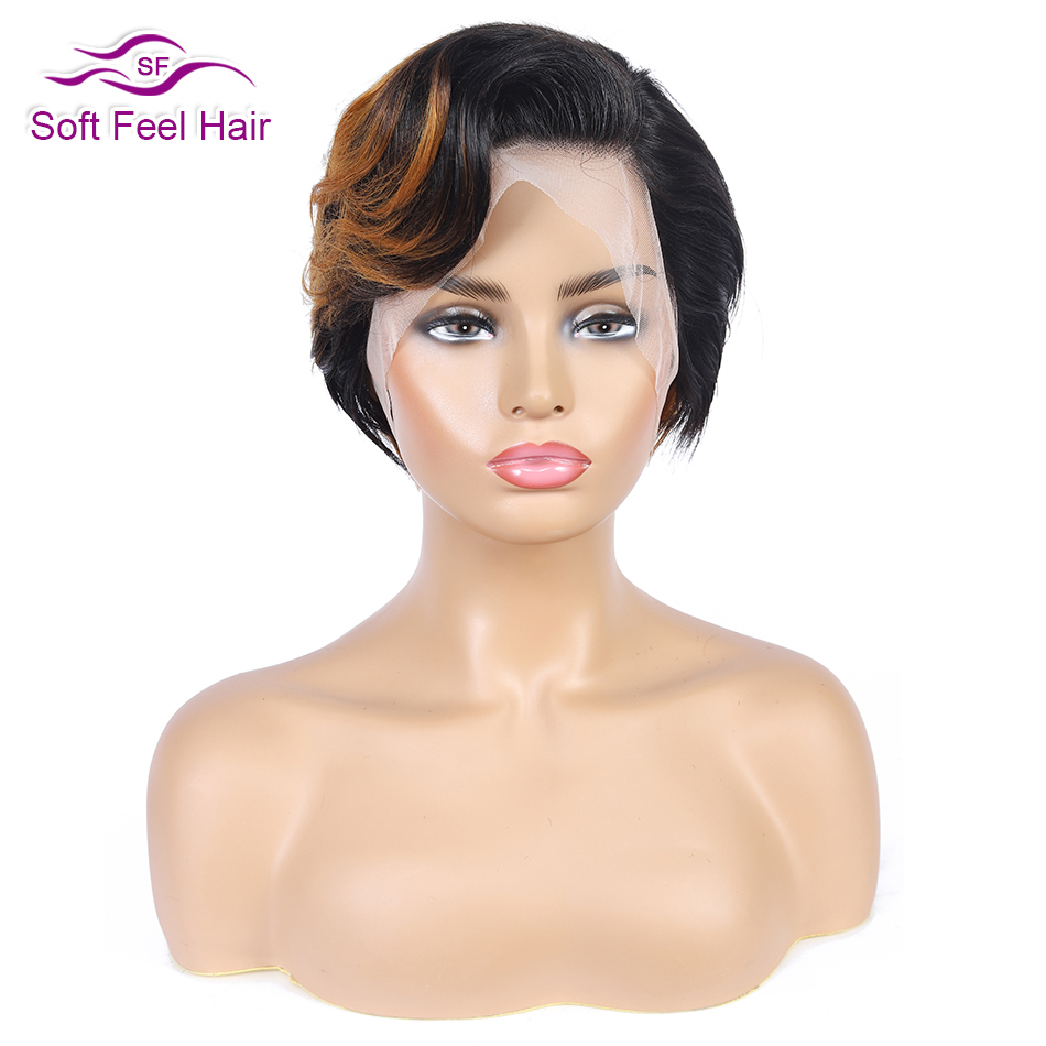 Ombre Bob Wig 13x4 Pixie Cut Wig Brazilian Bob Lace Front Wigs Remy 1B/30 Honey Brown Lace Front Human Hair Wigs For Black Women