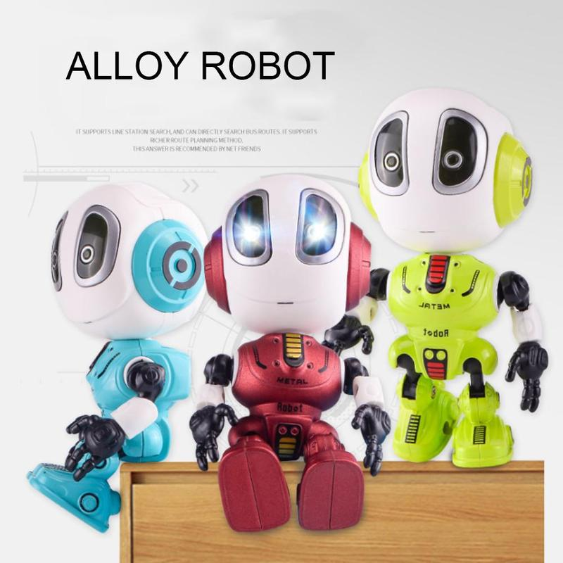 Mini Intelligent Alloy Robot With Music Light Recording Sound Children Interactive Robots Toy Deformable Smart Robot Toy For Kid