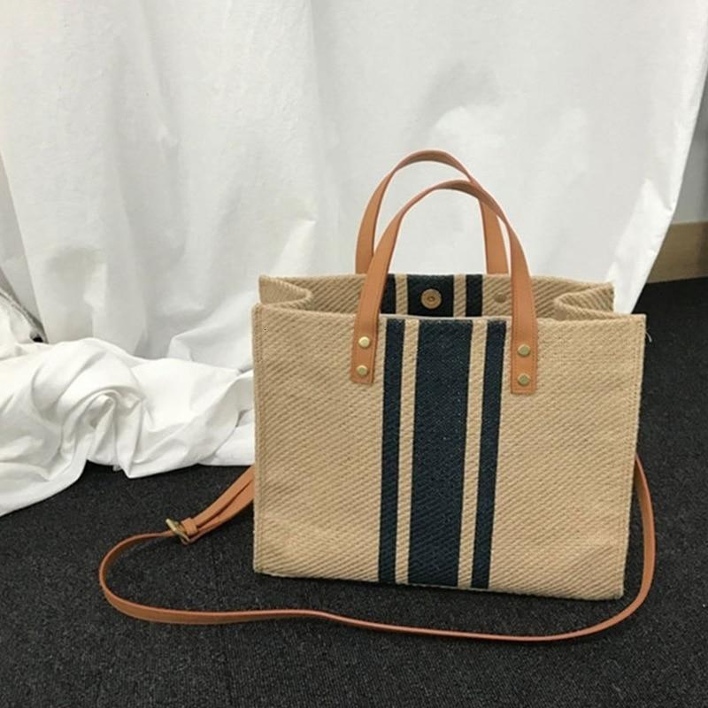 Briefcase Woman Bags Linen Portable Blue Black Striped Big Ladies Handbags Shoulder Bag