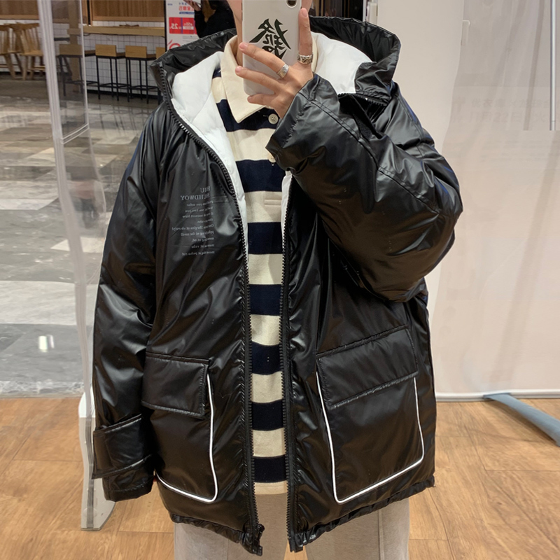 Winter Thickening Gloss Jacket Men's Warm Parka Men Fashion Hooded Coat Man Loose Cotton Motorcycle Jacket Male Clothes M-2XL