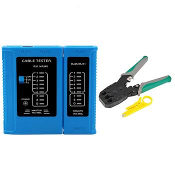 RJ45 Cable lan tester AND Crimp Crimper Plug Clamp Network Cable Tester RJ45 RJ11 CAT5 CAT6 UTP LAN Cable Tester Networking Tool цена 2017