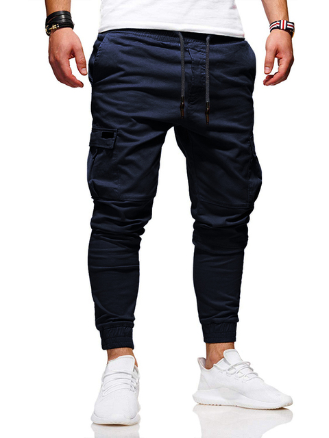 Solid Multi-pocket Joggers Pants 6