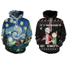 Santa claus cartoon printing hooded long-sleeved pullover sweatshirt fashion loose shirt autumn and winter new women's top(China)
