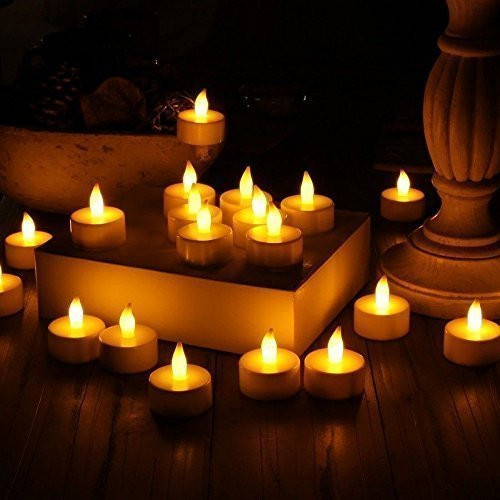 24pc LED Tea Light Candles Realistic Battery-Powered Flameless Candles Church and Home Decoartion and Lighting La Vela#30