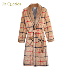 Мужской банный халат, зимний теплый трехслойный банный халат с длинным рукавом, клетчатое вельветовое кимоно, мужское вечернее платье, роск...