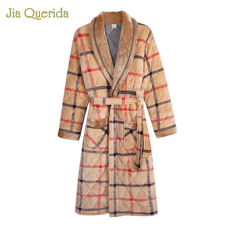 Men Robe Winter Warm Bathrobe 3 Layer Padded Long Sleeve Plaid Velvet Kimono Mens Night Dress Gown Luxury Men Robe Winter Kimono