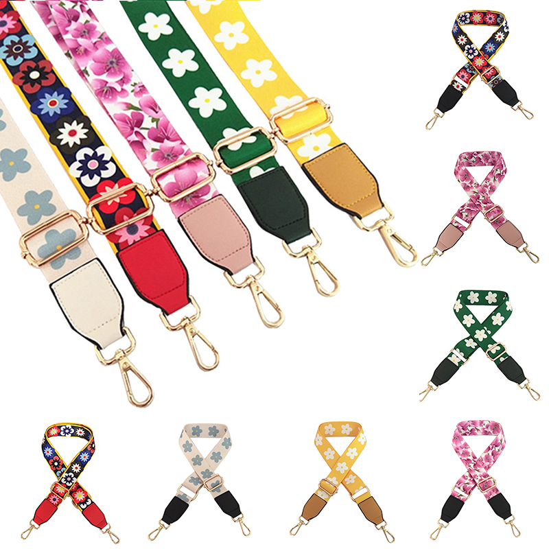 Fashion Colorful Floral ShoulderStrap Nylon Belt Bags Strap Accessories For Women Messenger Crossbody Bags