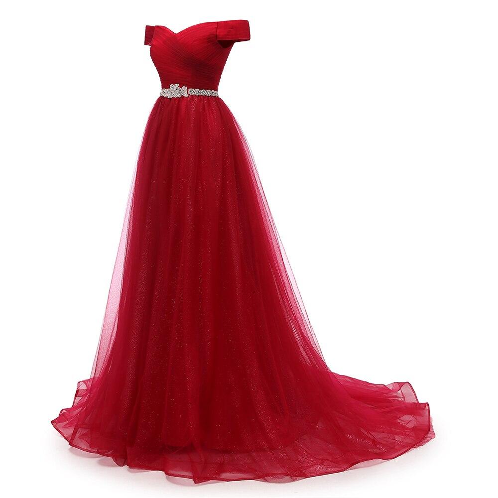 Vkmariée hors épaule rouge longue robe De soirée ceinture perlée Vintage robes De bal Vestido De Festa à lacets dos pas cher robe De soirée - 3