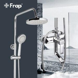 Image 1 - Frap 1 Set Bathroom Rainfall Shower Faucet Set Mixer Tap With Hand Sprayer Wall Mounted Bath Shower Sets Single Handle F2418