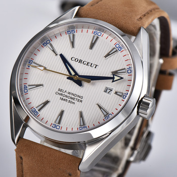 41mm Corgeut mens watch white dial Date calendar Automatic Mechanical Sapphire crystal leather wristwatch men luxury top brand - discount item  60% OFF Men's Watches