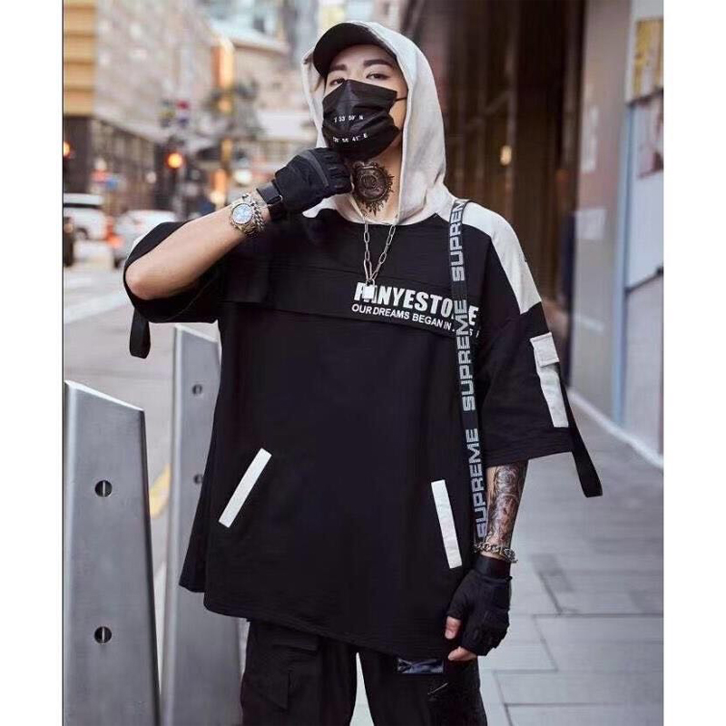 Мужская футболка в стиле хип-хоп, уличная футболка в стиле Харадзюку, летняя черная футболка с капюшоном, Корейская футболка большого разме...