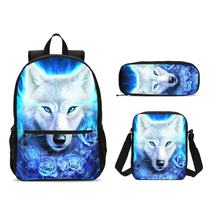 3Pcs/Set Portfolio School Bags For Boys Girls Cool Animal Wolf 3D Printing Backpacks Teenage Bookbag Satchel Mochila Escolar forudesigns fashion men backpacks cool 3d animal tiger printing school backpack for teenage boys children mochila rucksack man