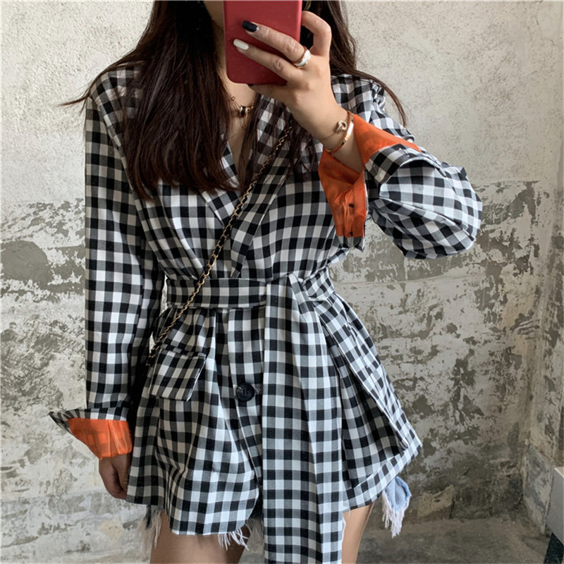 Alien Kitty High Street Women Color-Hit Lace-Up Stylish 2020 Elegant Chic All-Match Office Lady High Quality Feminine Blazers