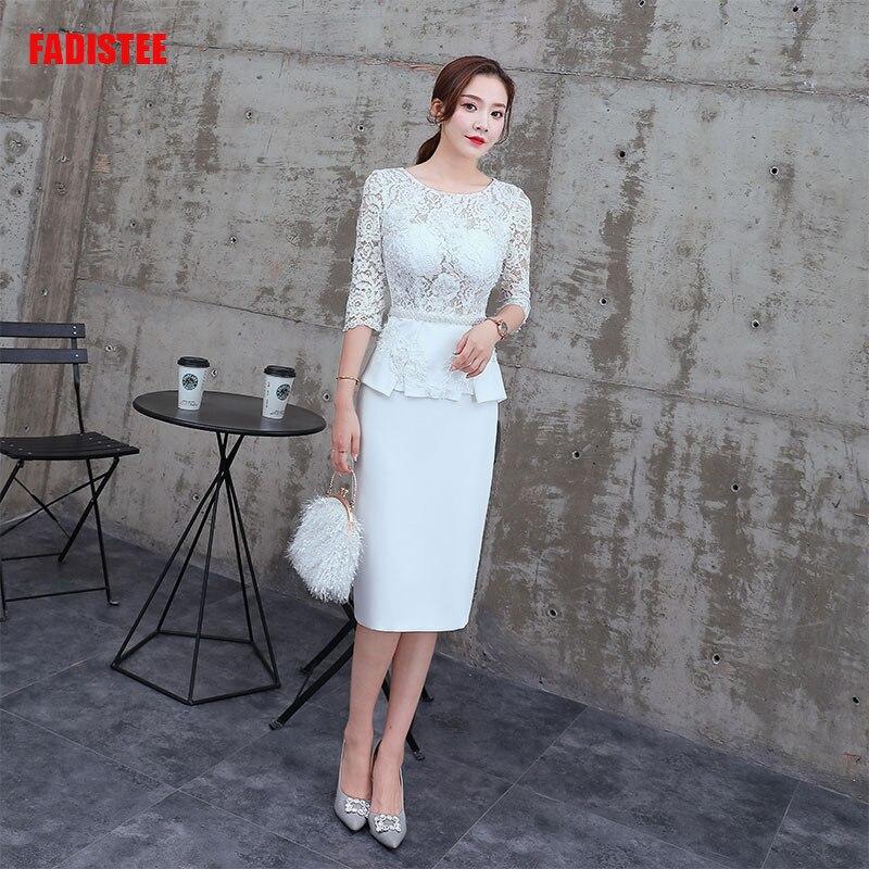 Plus Size Elegant Dresses Mermaid Mother Of The Bride Vestido De Noiva Robe De Mariee Pearls Short Lace Frock Little White Dress