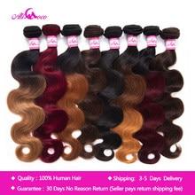 Ali coco malásia cabelo ondulado pacotes 1/3/4 pacotes 8-30 polegadas corpo ondas de cabelo sem remy ombré extensões 100% de cabelo humano
