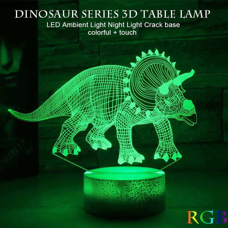 Desk Light Jurassic Dinosaur Atmosphere Bright Table Lamp Night Light 3D Art Kid Touch Control Decoration Indoor Lighting