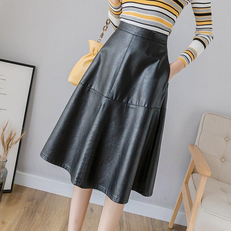 2019 Модные женские Юбки миди из искусственной кожи с завышенной талией, большие размеры, черные юбки с карманами
