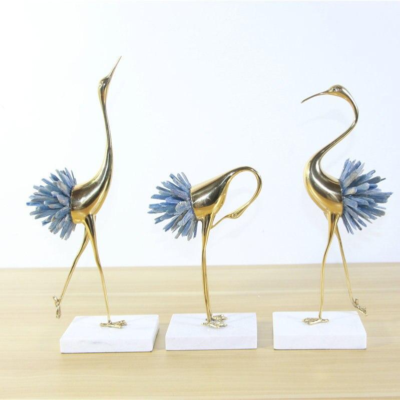 Nouveau style chinois grue modèle cuivre décoration lumière luxe européen moderne salon maison métal décoration cristal bijoux