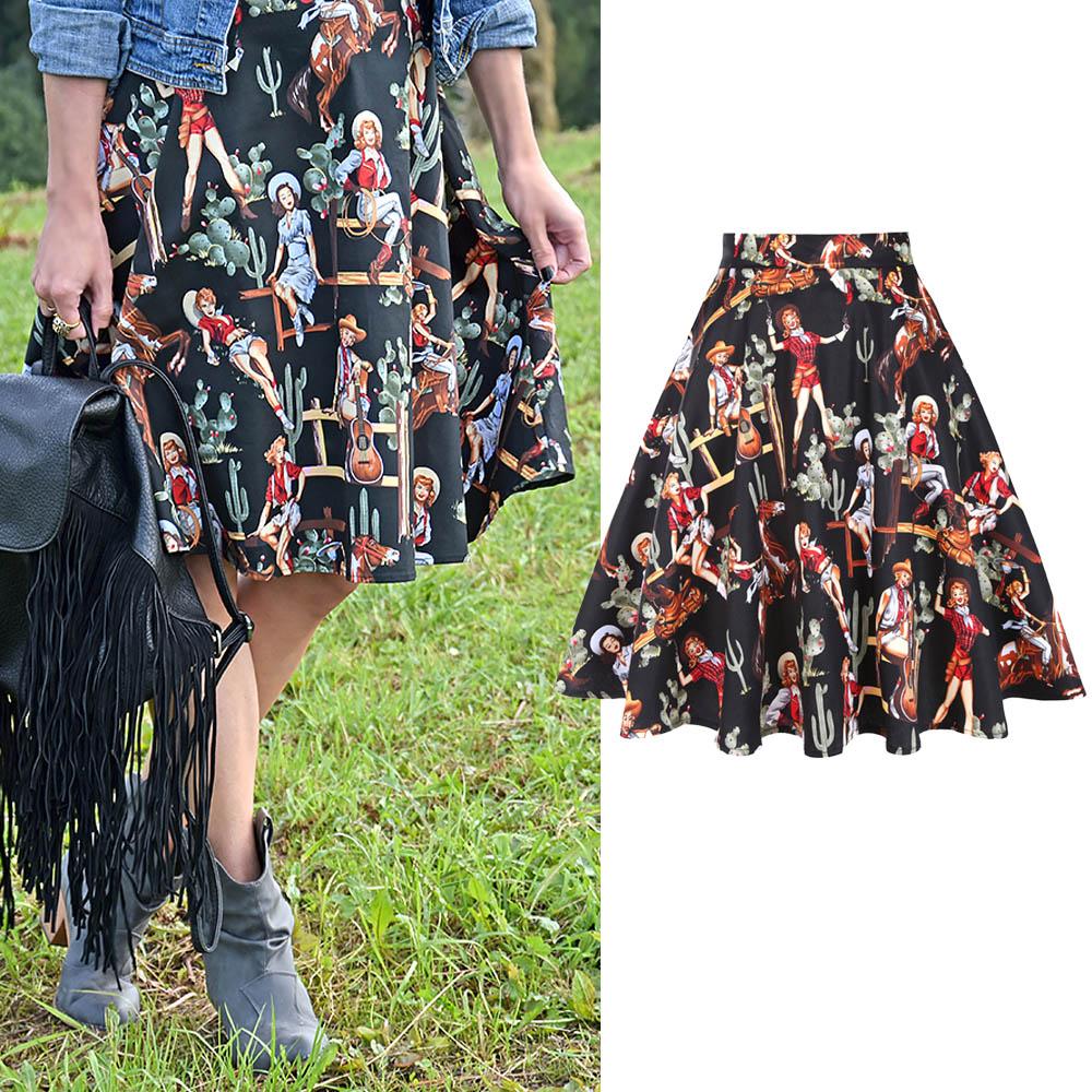 Retro Cotton Black Skirt 2020 New Summer Western Girl Print Sexy Elegant 50s 60s Vintage Women Skirts Plus Size
