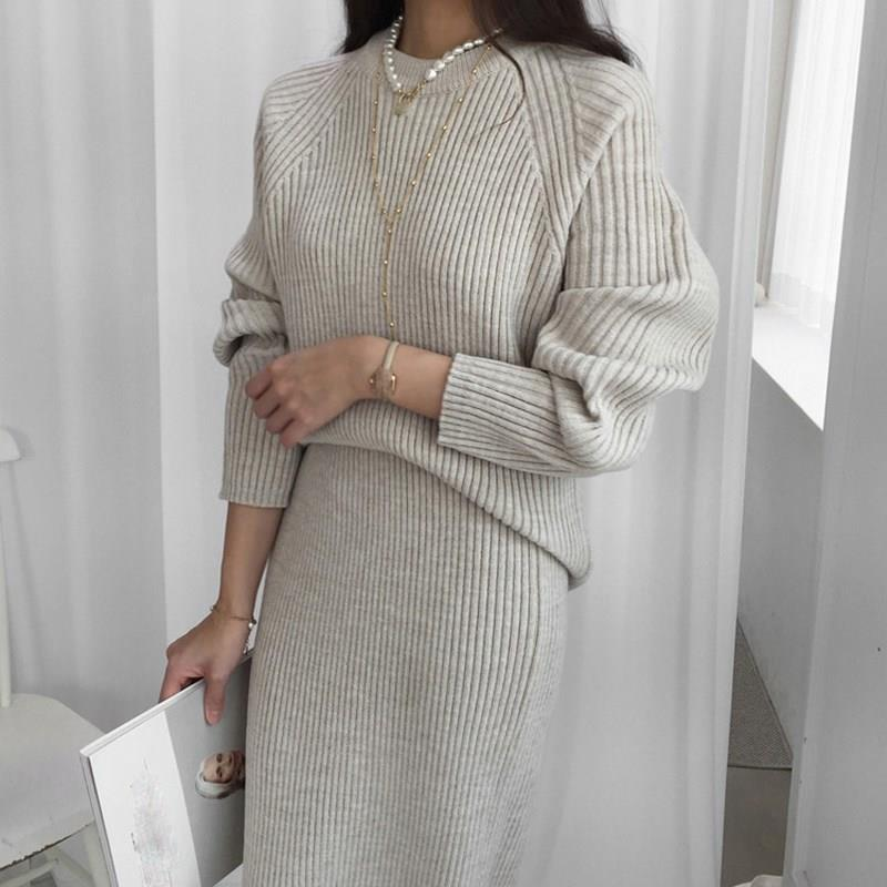 2019 Women Sweater 2 Piece Suits Winter Sets Solid Female Fashion Long Sleeve Pullovers Sweater And Knitted Skirt Sets
