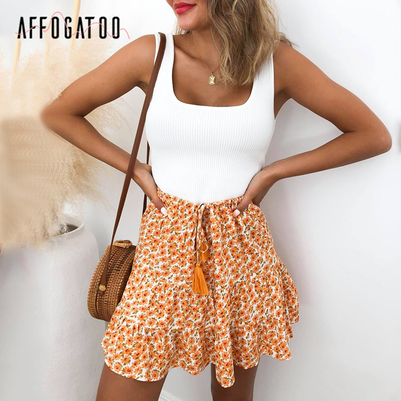 Affogato Casual Holiday Ruffle Lace Up Floral Print Summer Skirt Women Bohemian High Waist A-line Female Mini Skirt Ladies Skirt