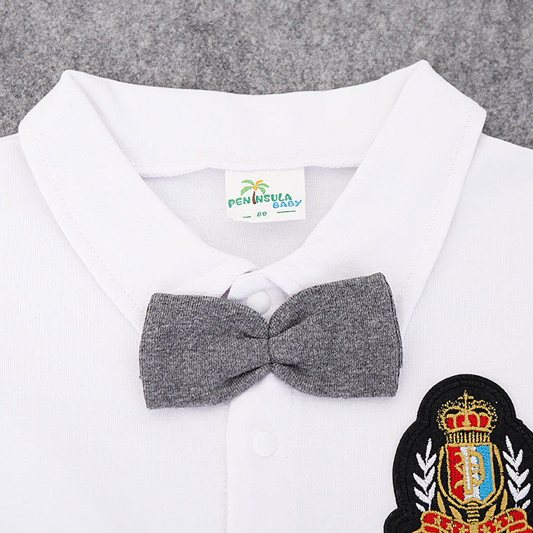 Baby Boy Rompers Cotton Short Sleeve Gentleman Clothing 2020  Summer Toddler Boys Outfits with Bow Tie Newborn Infant Jumpsuits