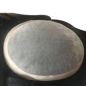 Мужские парик моно с ПУ системы замещения волос индийские Remy человеческие волосы парик натуральный Handmadec