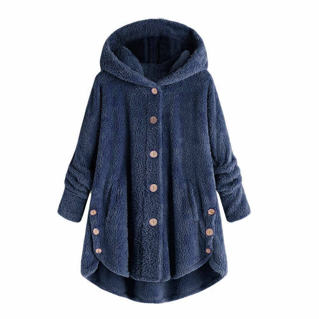 JAYCOSIN 2019 Fashion Casual Vrouw Jassen Herfst Winter Turn-down Kraag Womens Hooded Trui Losse Truien Naaien Knop Jas
