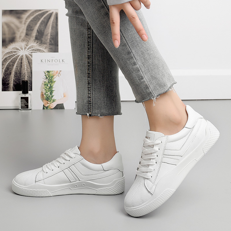2019 Women Shoes Sneakers Lace-up White Shoes Breathable Walking Sewing Woman Casual Flat