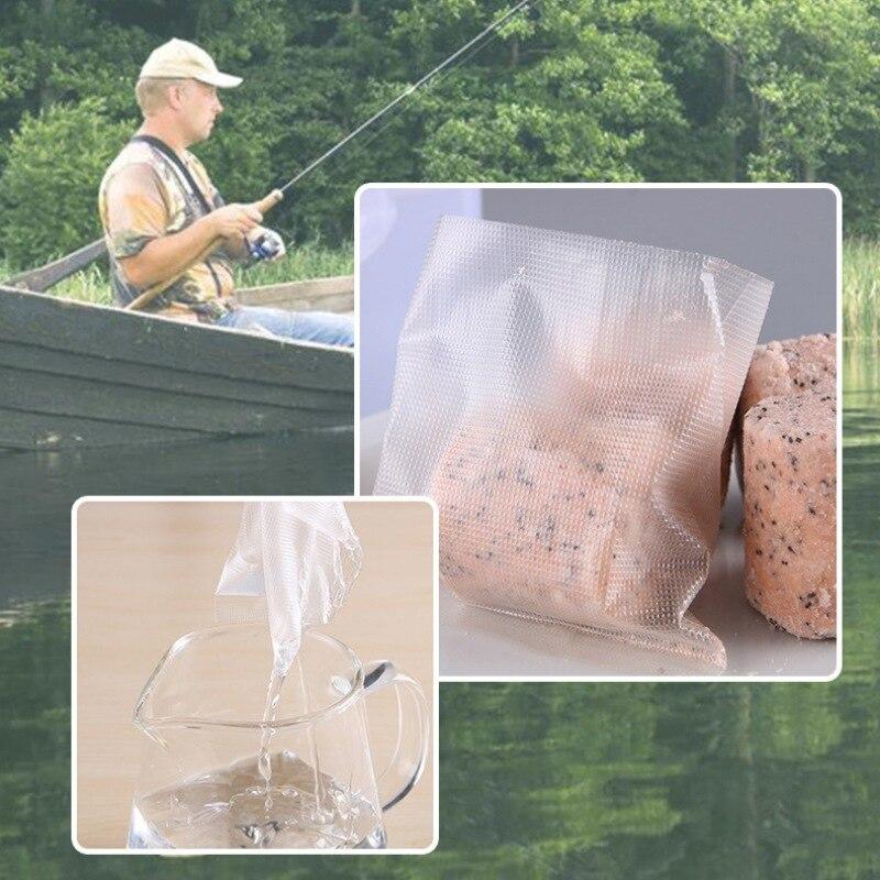 50Pcs Multiple Sizes Dissoluble PVA Bags Fish Lure Carp Fishing Tackle Water Dissolving PVA Bags for Carp Coarse Boilie Bait Bag