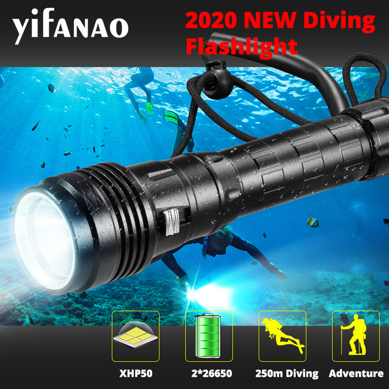 NEW Divi Scuba 26650 Diving Flashlight XHP50 IP68 Highest Waterproof Rating Professional Underwater Torch L2 Use 18650 26650