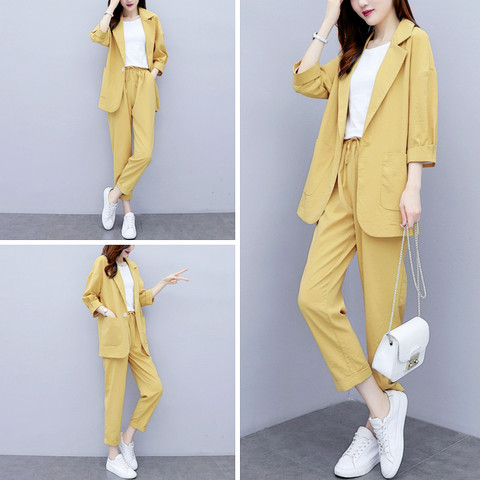 Women Autumn summer Causal  2 piece setssuit Plus Size Solid Cotton and linen Blazer Coat  Harem Pants Suits Lahore