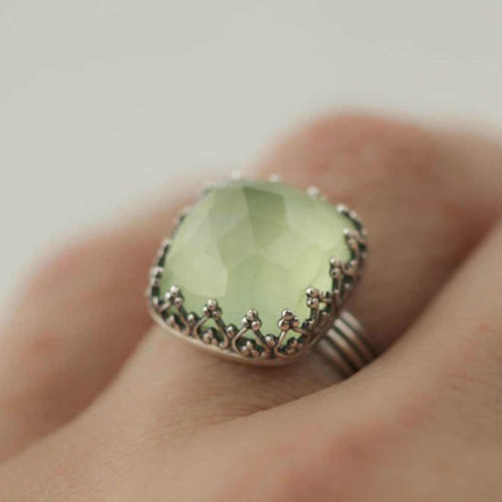 ผู้หญิงเครื่องประดับอัญมณี VINTAGE Peridot Moonstone ส่วนบุคคลงานแต่งงานแหวน SZ 6-10 ของขวัญหญิง
