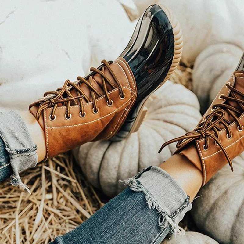 SFIT 2019 ใหม่แฟชั่นฤดูใบไม้ร่วงฤดูหนาว Mid-calf ผู้หญิง Boot รองเท้ารองเท้าส้นสูง Warm Plush รองเท้าหนัง PU คุณภาพสูงเข่าสูง Boot