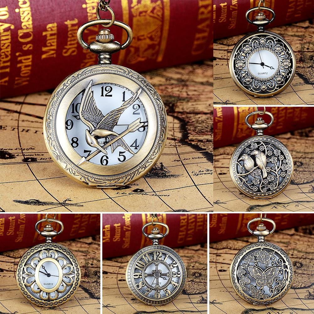 Vintage Hollow Quartz Pockets Watch with Chain Bird Butterfly Tower Arabic Number Nurse Watch Brooch Tunic Fob Watch