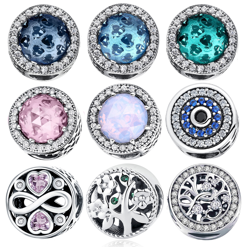 WOSTU Round Glass Beads 100% 925 Sterling Silver Blue Pink Charms Fit Original Bracelet Pendant For Women Necklace Jewelry(China)